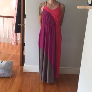 Bright color block maxi dress. Size SX, fits S/M